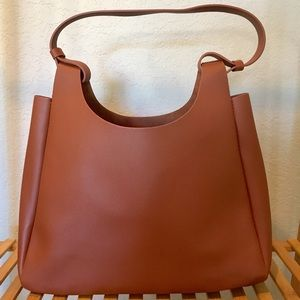 Neiman Marcus faux leather tote brown